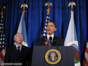 President Obama and Interior Secretary Ken Salazar