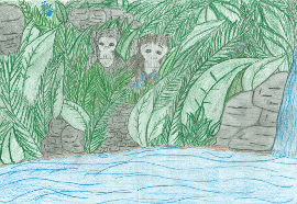 Chimp drawing by finalist Vanessa Molisee, 5th grade