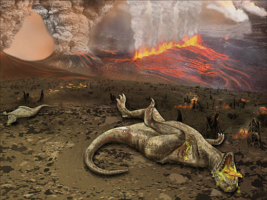 Dinosaurs dying from volcanic eruptions